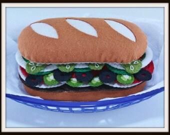 Felt Sub Sandwich, Felt Food Pattern, Felt Food Sandwich, Play Food Pattern, Toy Pattern, Play Felt Food, Felt Food Set, Toy Food