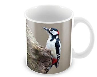Great Spotted Woodpecker Ceramic Coffee Mug    Free Personalisation