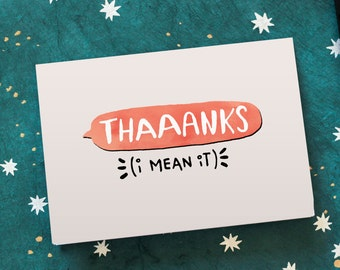 Simple Thank You Card | Thaaanks | Gratitude Card Friend Family | Cute Basic Thanks Card | Casual Appreciation Card | I Appreciate You Card