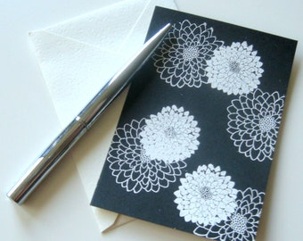WHITE CHRYSANTHEMUM CARDS - 4 double sided hand embossed floral stationery flat cards with tan writing side and cream envelopes
