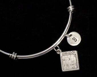 Bingo Card Stainless Steel Bracelet, Bingo Bracelet, Bangle Bracelet, Adjustable Bracelet, Stainless Steel Bracelet, Initial Bracelet, qb81