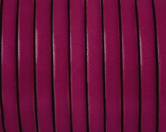 European flat leather cord 5mm, leather strap, fuchsia leather for bracelets, crafts, leather supplies, PREMIUM made in Spain, Choose length