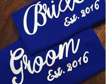 Bride & Groom Shirts Set, Personalized Bride Groom Set, Wedding Gift