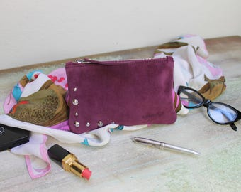 Suede leather clutch, pochette on SALE, Sale leather clutches, burgundy clutch hand made, READY to Shipping