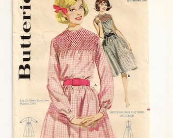 "A Sleeveless or Long Sleeve, Gathered / Belted Skirt, Smocked Yoke Dress Sewing Pattern for Women: Retro Size 14, Bust 34"" • Butterick 2771"