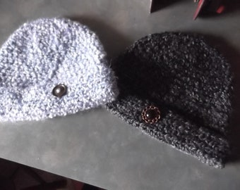 Soft Touch Crocheted Pull On Fold Up Brim Hat-Button Details-Choice of Colors