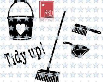 Clean Up set Bucket Broom Tidy Up Hand bromm shovel Cleaning House Digital Downlaod Cut File png SVG eps DXF jpeg PDF Vector Commercial use