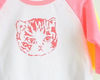 SALE | Neon Pink Kitty Cat Raglan Tee - Baby and Kids Sizes