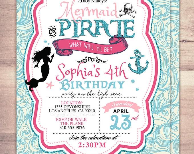 Mermaid invitation,  Pirate and Princess Birthday Invitation, Princess and Pirate invitation ,Twins birthday, nautical, under the sea