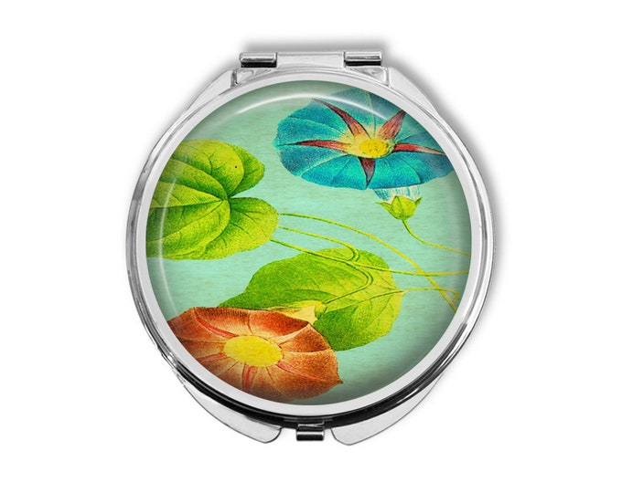 Morning Glory Compact Mirror Pocket Mirror Large Gifts for her