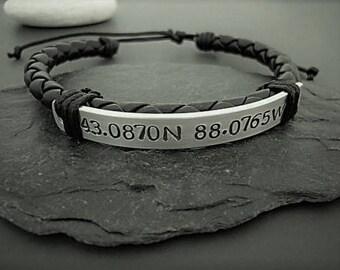 Gift for boyfriend, Bracelet for man, GPS coordinates bracelet, Mens bracelet, Anniversary Gift for Him, Gift for Him, Coordinates Bracelet