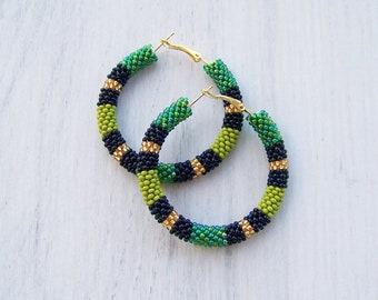 Green Snake Hoop earrings - African Style Earrings - Colorful Zulu Inspired Hoops - Big Hoop Earrings - Ethnic Maasai Beadwork Earrings