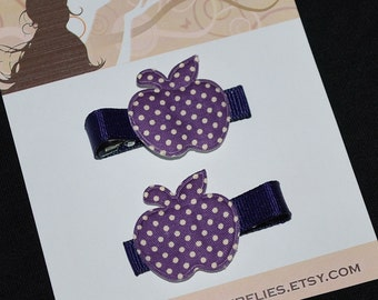 Shabby Chic Purple Apple Polka Dot No Slip Hair Clips - Buy 3 Items, Get 1 Free