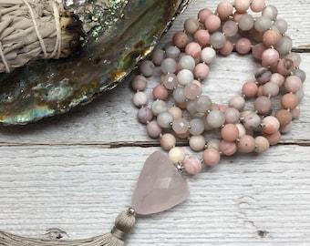 Heart of Presence Mala | 108 Matte Pink Opal, Faceted Rose Quartz, & Matte Silver Lace Agate