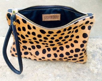 DOTTY  leather clutch. Hair on hide clutch. Animal print clutch. Leather clutch bag. Leopard clutch.