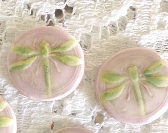 Set of 2 Shank Style Dragonfly Buttons, Lime Green and Lavender Pink