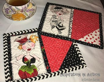 Set of 2 Flirty Girl Quilted Mug Rugs -- Snack Mats, Mini Placemats, Centerpiece, Small Wall Hanging