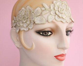 Rosette Gold Flower Headband, Flapper Headband, Applique Headband