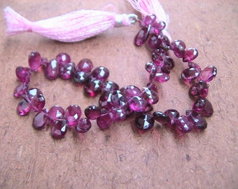 60 pcs-Near to Eye clean Pink Rubelite Tourmaline 5 TO 7 mm Briolette Micro faceted Briolette Pears AAA Quality-Dark colour