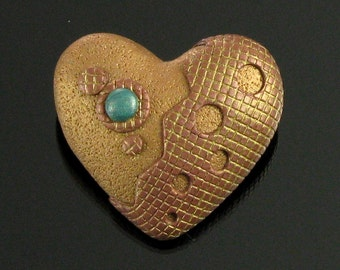 Rustic Heart Pendant Necklace & Pin Duo, Unique Polymer Clay Art Jewelry, Handmade Gift Jewelry for Women, Mom, Girlfriend, Gift for Her
