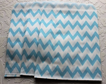 Light Blue and White Zig Zag Chevron Paper Bag- Gift Bag, Notion Bag, Party Favor, Party Supply, Shop Supply, Treat Bag, Merchandise Bags
