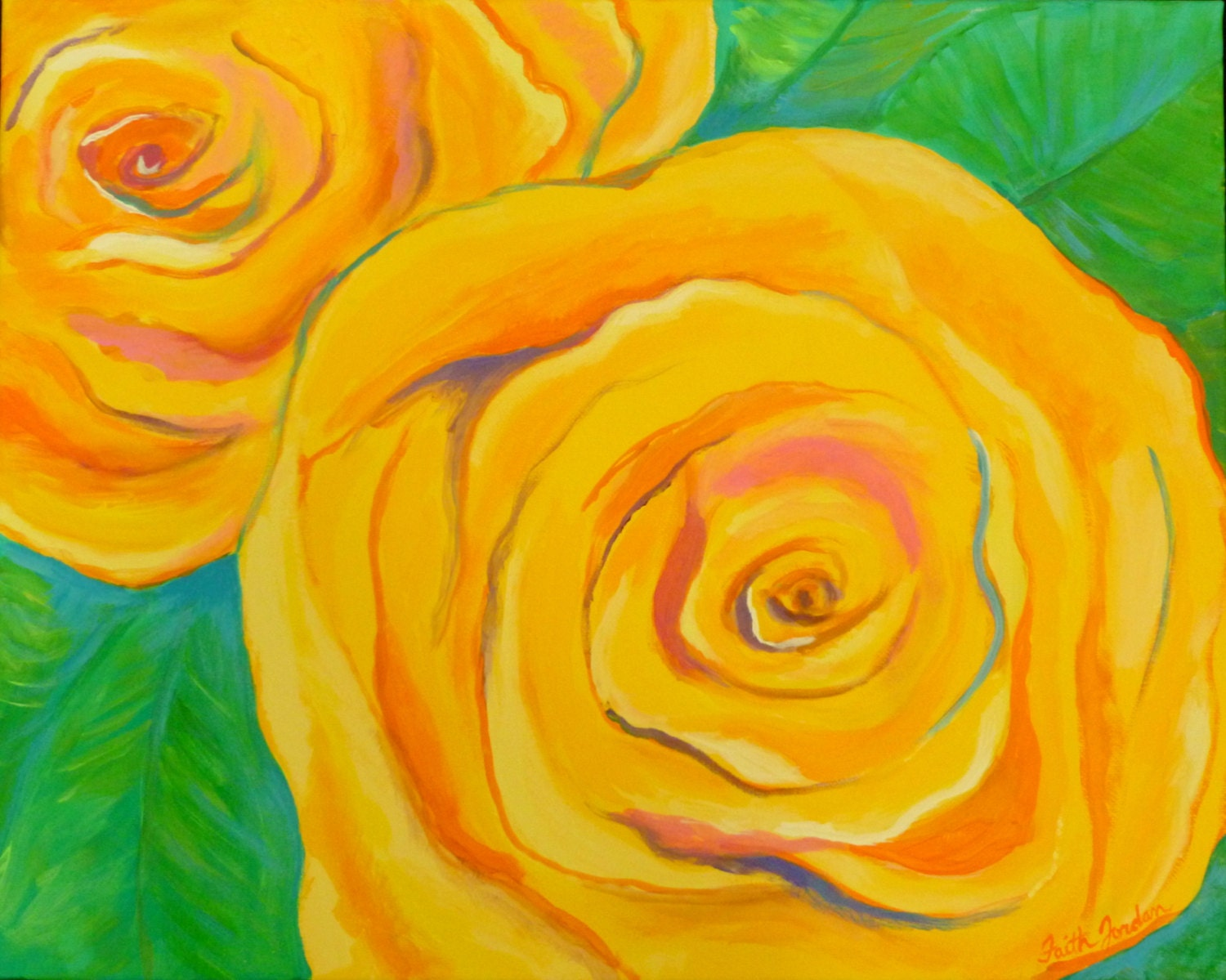 Bright Yellow Roses-abstract art-large rose painting-colorful