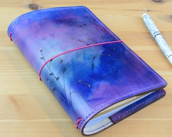 All Sizes Seagrass Ombre Purple Pink Fauxdori Midori Travelers Notebook Planner A4 A5 A6 Cahier Pocket Regular Standard Personal Passport A7