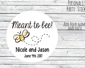 Personalized Meant to Bee Honey Favor Labels Mason Jar Label Tags Favor Stickers, Wedding Labels, Custom Wedding Favor & Gift Tags