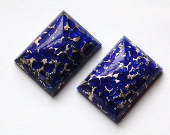 Vintage Blue Glass Rectangle Cabochons with Silver Foil (2) cab377A