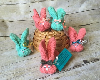 Set of 10 Coral and Teal Boo Boo Bunnies, Woodland Shower Favor, New Baby, Stocking Stuffer, Mommy to Be, Cold Ice Pack, Gender Neutral, Eas
