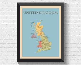 UK Map, UK Poster, United Kingdom Map, Great Britain Map, Britain Map, Map of Great Britain, Map of UK, England Map, Map of England, England