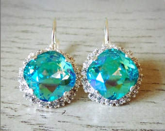 SALE Swarovski Blue Green Crystal, Silver Earrings, Dangle and Drop Earrings, Bridesmaid Earrings, Formal Earrings, Cushion Cut Earrings