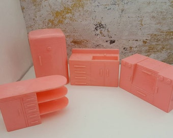 Plasco Pink  Kitchen Toy Dollhouse Traditional Style 1944 Fridge Stove Sink Counter Art Deco Dolly
