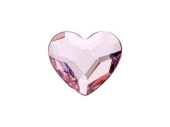 6mm Custom Valentine Swarovski Crystal Heart gem Earring set Wedding Rosaline Pink Rhinestone w/ Titanium Hypoallergenic Minimalist Studs