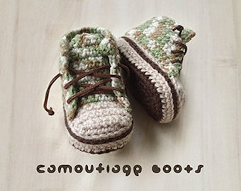 Crochet Pattern Baby Booties Camouflage Baby Boots Baby Sneakers Crochet Patterns Baby Shoes Crochet Booties Newborn Sneakers Newborn Boots