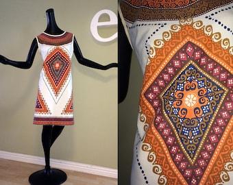 Vintage 60s 70s Afred Shaheen Sheath Dress Hawaiian Tiki Oasis 1960s 1970s Screen Printed MOD Tribal Ethnic Engineered Print Orange Brown L