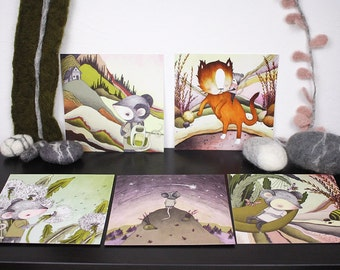 """Set Of 5 Prints """"A Day In The Life Of Maus"""""""