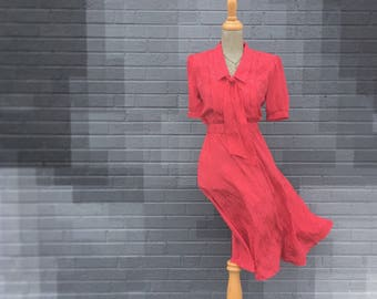 Vintage Red Tone On Tone Belted  Scarf Neck Dress (Size Small/Medium)