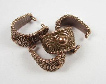 4 Tierracast Antique Copper Large Spiral Pinch Bails