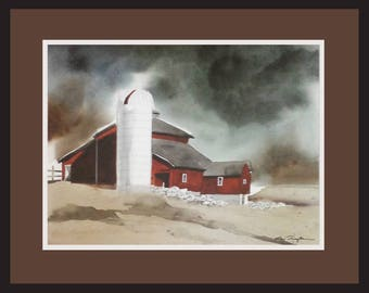 Once Upon A Time        Watercolor      Barns      Painting