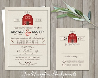 Printable Barn Wedding Invitation Rustic Barn Wedding Invitations Country Wedding Rustic wedding Invite RSVP digital template printables