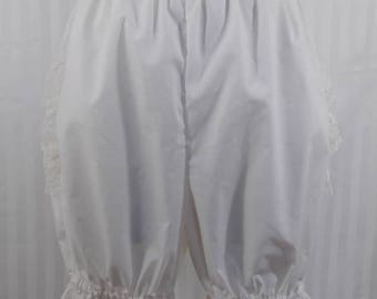 Ivory ruffle above the knee bloomers steampunk lolita adult women