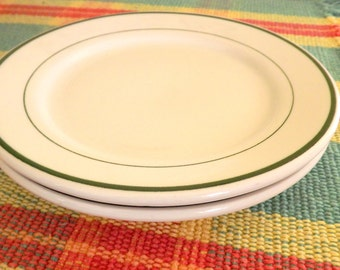 Set of 2 Small Plates, Vintage Diner Plates, Restaurant Ware Plates, Pair of 2 White with Green Band Dessert Plates, Vintage Sandwich Plates