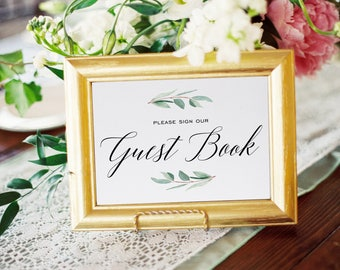 Guest Book Sign, Greenery, Wedding Guest Book, Sign For Guest Book