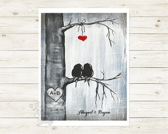 Engagement Gift Personalized Print Birds in Tree Love Birds Art Custom Wedding Print 1st Anniversary Gift Wedding Gift for Couple Love