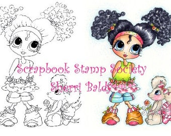 INSTANT DOWNLOAD Digital Digi Stamps Big Eye Big Head Dolls Digi  Brittany and the Mouse By Sherri Baldy