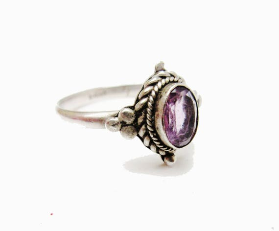 Sterling Amethyst Ring  Purple  Gemstone Beveled   twisted silver Setting   size 7