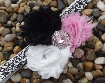 Baby Pink Black and White Vintage Style Shabby Chic Damask Flower Baby Headband - Newborn - Infant - Toddler - Girl - Photo Prop