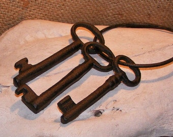 Cast Iron Jailers Keys Rustic Skeleton Western Primitive Reproduction Jail #204