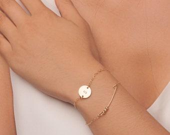 Gold Initial Disc Bracelet, Suspended Initial Disc Bracelet, Gold Personalized Bracelet, Gold Letter Bracelet, Gold Monogram Bracelet